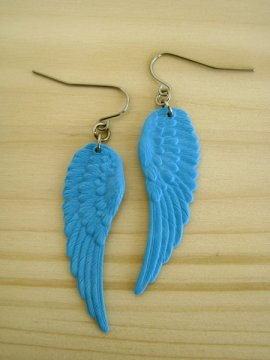 Small Wing Earrings - Vibrant Blue - $10.00 : --- Art School Dropout.net ---